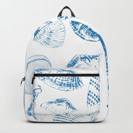 Tropical underwater creatures in blue and white Backpack