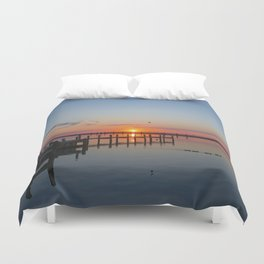 Sunset In Chincoteague Island Duvet Cover