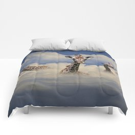 Heads above the Clouds with 3 Giraffes Comforters