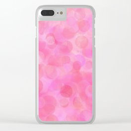 Pink Blush Dots Pattern Clear iPhone Case