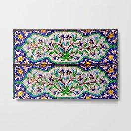Decorative Persian Floral Tile Mosaic Metal Print