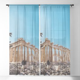 The Parthenon, Acropolis of Athens, Greece photography, ancient Greek Sheer Curtain