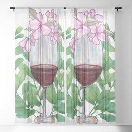 Drinking Wine Feeling Fine  Sheer Curtain