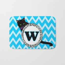 Letter W Cat Monogram Bath Mat