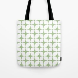 Mid Century Modern Star Pattern Sage Green Tote Bag
