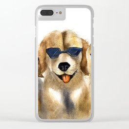 Yellow dogs  in funny glasses Clear iPhone Case