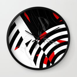 black and white meets red Version 8 Wall Clock