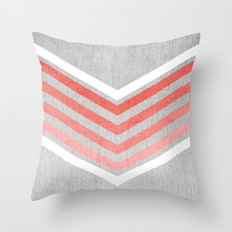 Coral Gradient Chevron on Silver Grey Wood Throw Pillow