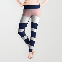 Cheerful Striped Pattern in Navy Blue, Pink, and White Leggings