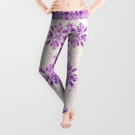 purple fair isle flake on cream Leggings