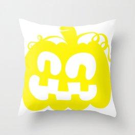 Halloween Jack O Lantern Face Pumpkin Yellow Throw Pillow