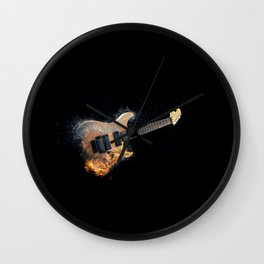 Flaming electric guitar Wall Clock