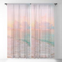 Beautiful: Aqua, Turquoise, Pink, Sunset Relaxing, Peaceful, Coastal Seashore Sheer Curtain