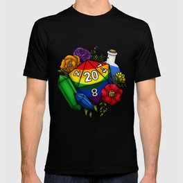 Pride Rainbow D20 Tabletop RPG Gaming Dice T-shirt
