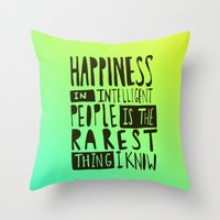 hemingway Throw Pillows featuring Hemingway: Happiness by Leah Flores