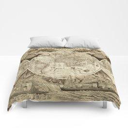 Antique world map with sail ships, sepia Comforters