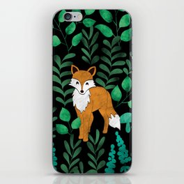 Red Foxes (Black) iPhone Skin