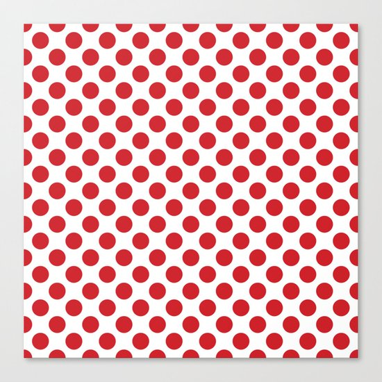 White and red polka dots Canvas Print