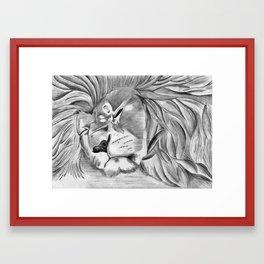 Sleepy Lion Framed Art Print