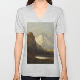 Albert Bierstadt - Cathedral Rock Unisex V-Neck