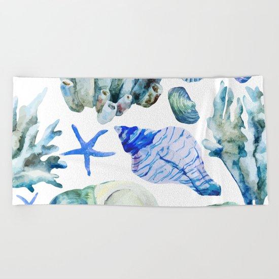 Sea Life Pattern 05 Beach Towel