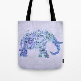 Blue Elephant Mixed Media Art Tote Bag