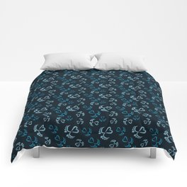 Baby Feet and Hearts Seamless Pattern in blue glitter Comforters
