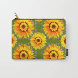 GEOMETRIC SUNFLOWERS AVOCADO-GREEN ART Carry-All Pouch