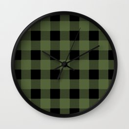 Green Buffalo Plaid Wall Clock