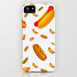 Hot Dog Pattern With Pinstripes iPhone Case