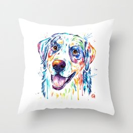 Bernese Mountain Dog Watercolor Painting Throw Pillow