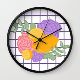 Lemon and Flower Grid Wall Clock
