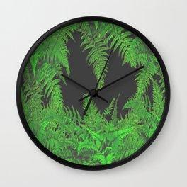 DECORATIVE CHARCOAL GREY GREEN FERNS GARDEN ART Wall Clock