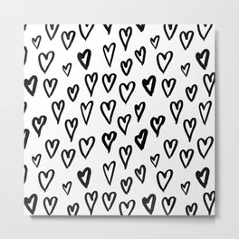 Pattern with hand-drawn Hearts Metal Print