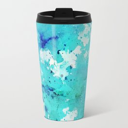 Artistic blue teal hand painted watercolor abstract pattern Travel Mug