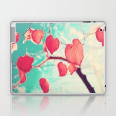 Our hearts are autumn leaves waiting to fall (Pink - Red fall leafs and brilliant retro blue sky) Laptop & iPad Skin
