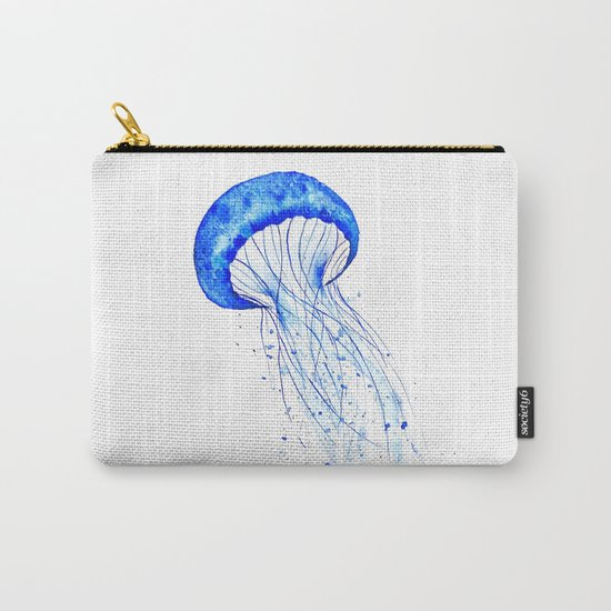 blue jellyfish watercolor Carry-All Pouch