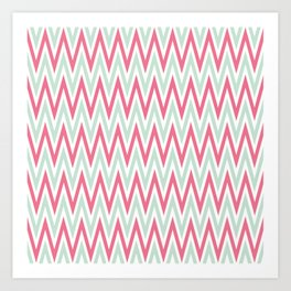 Zigzag pattern - blue and  pink Art Print