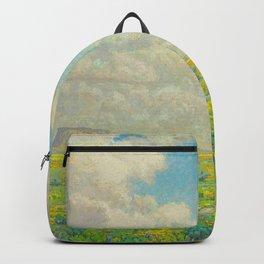 Granville Redmond Spring Antelope Valley Beautiful Landscape Painting Blue Sky Green Flower Filled F Backpack