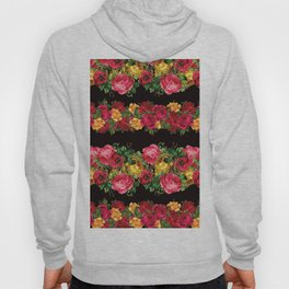 Vertical Rose Floral Garlands in Black Hoody