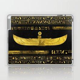 Golden Egyptian God Ornament on black leather Laptop & iPad Skin