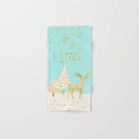 Merry christmas- gold deer - and xmas wishes on aqua backround Hand & Bath Towel