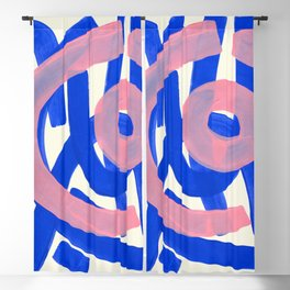 Tribal Pink Blue Fun Colorful Mid Century Modern Abstract Painting Shapes Pattern Blackout Curtain