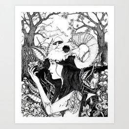 Nature goddess original Art Print