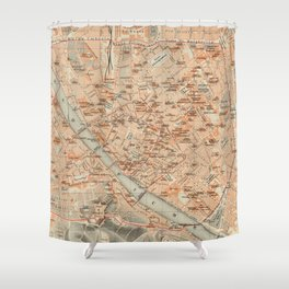 Vintage Map of Florence Italy (1895) Shower Curtain