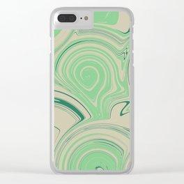 Spiraling Green Clear iPhone Case
