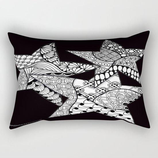 Midnight Zentangle Stars Black and White Illustration Rectangular Pillow