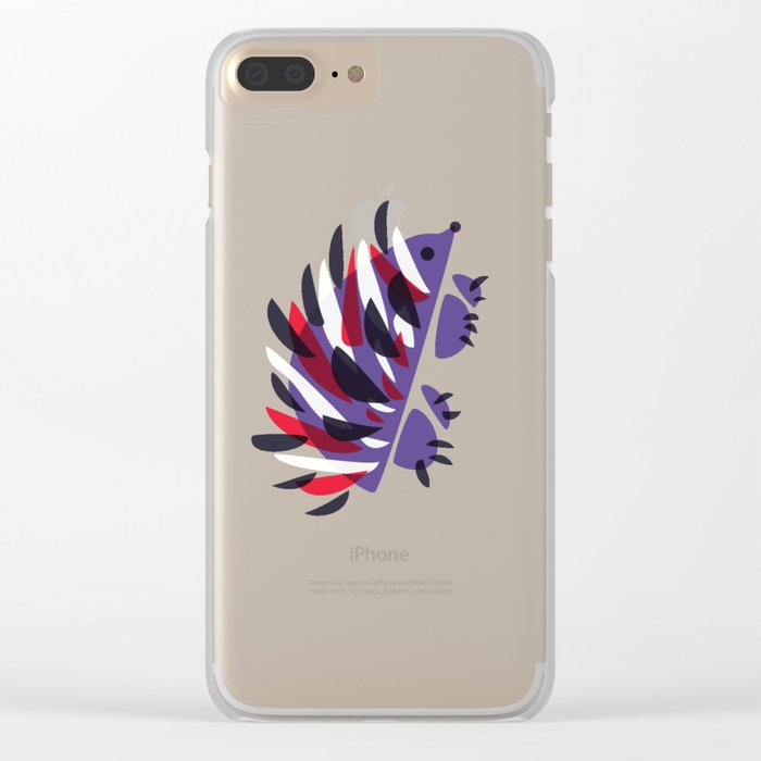 Colorful Abstract Hedgehog Clear iPhone Case