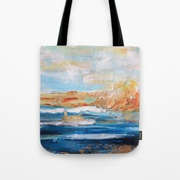 Sailboats and Golden Rays filling the Sea Gold Tote Bag
