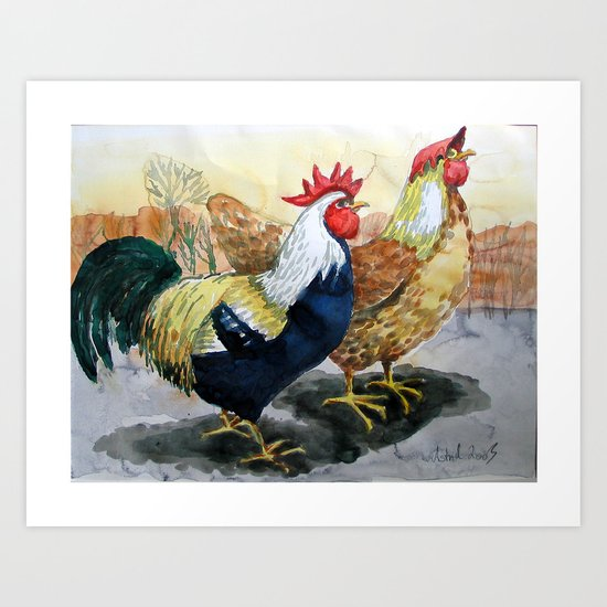 Rooster and Hen Art Print